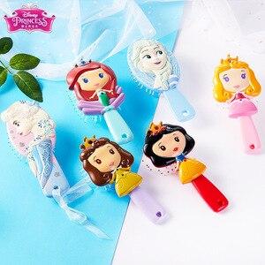 Z oryginalnym pudełku Disney mrożone grzebień księżniczka roszpunka Belle królewna śnieżka Anna Elsa szczotka do włosów dla dzieci dla dzieci do pielęgnacji włosów dziadek do orzechów