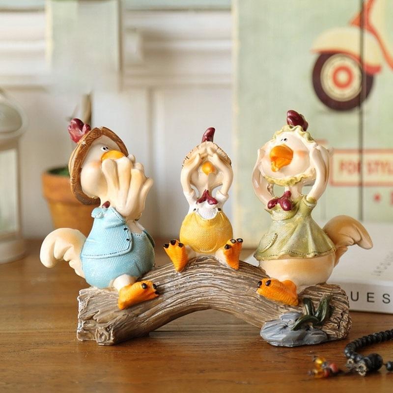 Cartoon Cute Chicken Lovers Ornaments Resin Handicraft Cat Sculpture Room Desktop Home Decorat Accessories Crafts Wedding Gift