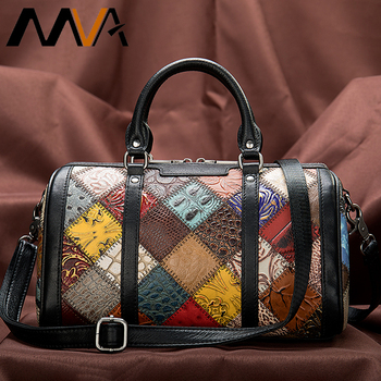 MVA Patchwork Bag Women's Genuine Leather Handbags Women Shoulder/Crossbody Bag Female Small Bags For Women Leather Handbags 100