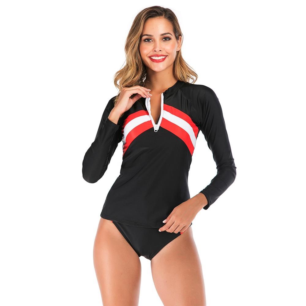 Female Fashion Black Patchwork Diving Suit Split Long Sleeved Pants Suit Dry Sunscreen Surf Wear Swimsuit With Slim Body Suit