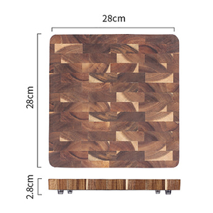 Image 2 - פרימיום Acacia עץ חיתוך לוח עם יד כידון חסון מוצק קיצוץ הגשת מגש מגש מושלם מתנה לא צבע חיתוך כלי