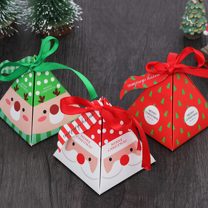 10Pc Christmas Candy Box Paper Gift Boxes Party Favors Decoration Xmas Presents Santa Claus Chocolate Cookie Box Packaging Decor