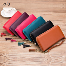 New First Layer Cowhide Women Long Zipper Wallet Genuine Leather Ladies Tassel Phone Pouch RFID Card Holder Clutch Purse