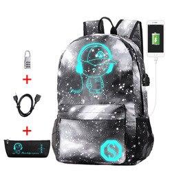 Luminous School Bag for Girls Boys Backpack with USB Charging Port Waterproof Book Bags Children Schoolbags Mochila Escolar