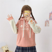 Autumn Japanese Kawaii Anime Cat Plush Sweatshirt Women Harajuku Mori Girl Preppy Warm Lovely Cute Paw Graphic Pullover Hoodies
