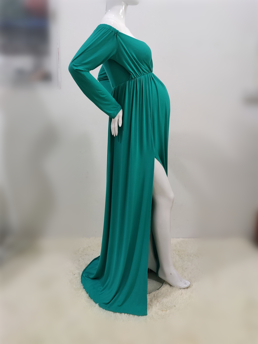 Long Shoulderless Maternity Photography Props Dresses Sexy Split Front Pregnancy Dress Photo Shoot For Pregnant Women Maxi Gown (8)