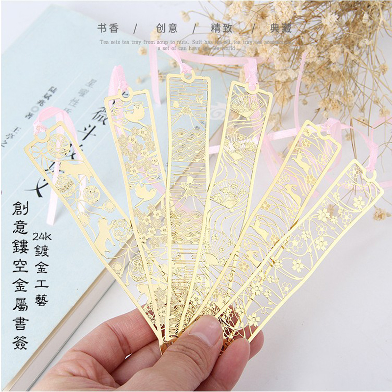 Engraved Sakura Mount Fuji Cherry Blossom Metal Bookmarks Classical Chinese Exquisite Hollowed Out B