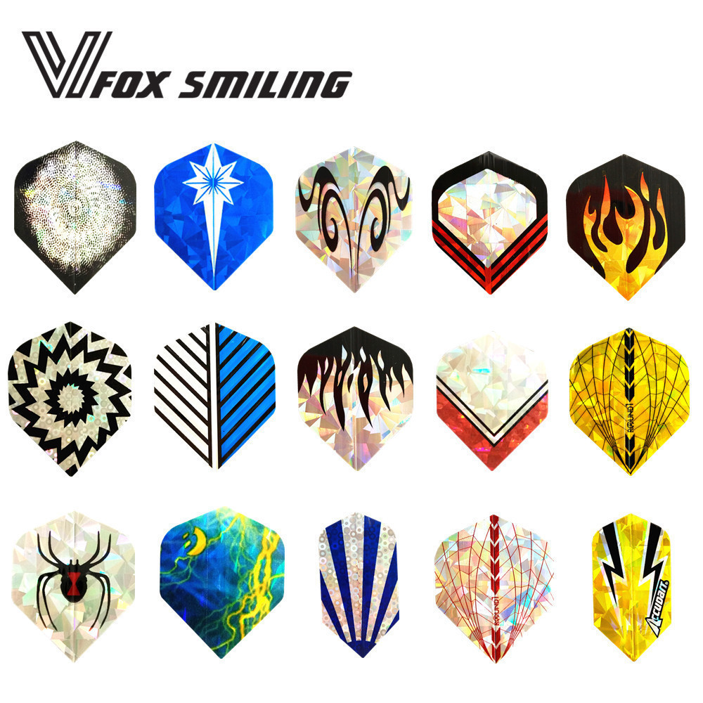 Fox Smiling 3pcs 15 Styles Nice Laser Darts Flights Slim And Standard Shape For Professional Darts Accessories With Good Quality