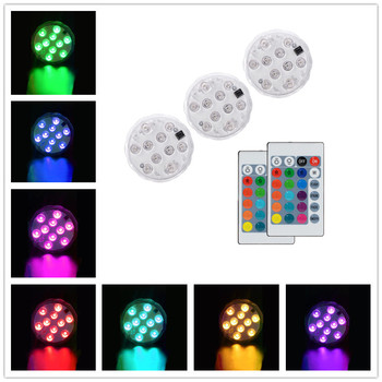 Night Lights 10 Led RGB Night Light Christmas Lights Outdoor Battery Operated Underwater Light Lamp Garden Decor Remote Control 16color submersible led lights aquarium light aaa battery ip68 waterproof 1m underwater led night light remote control d35