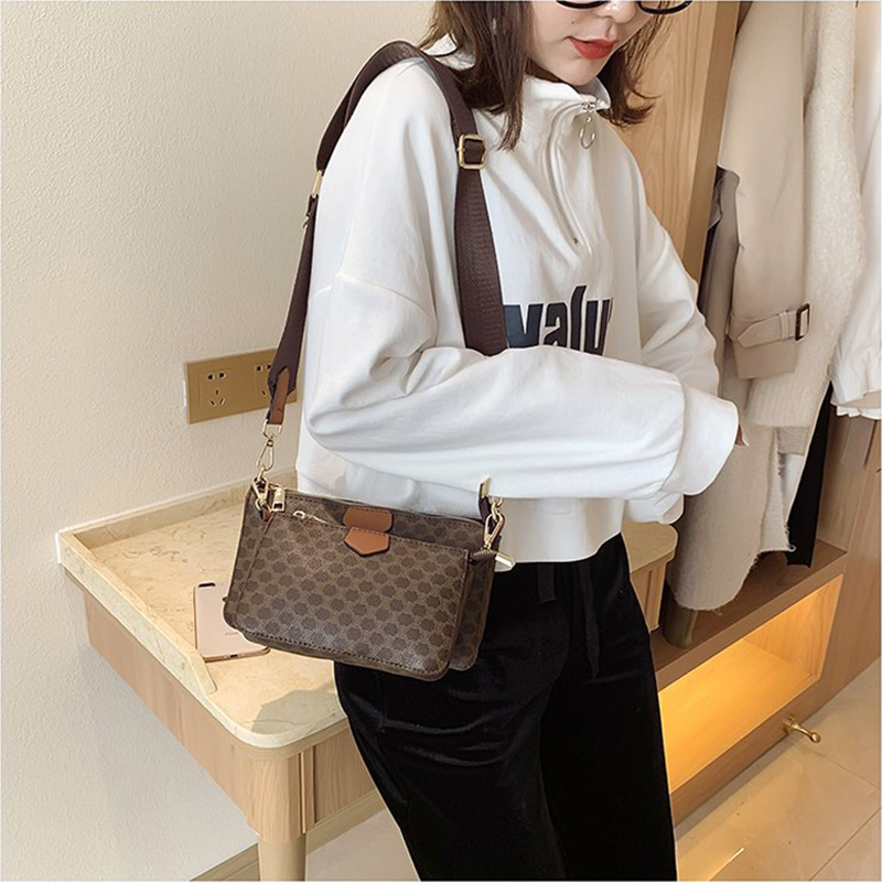 Luxury 3-in-1 Crossbody Bags For Women 2021 New High Quality Leather Shoulder Bags Female Designer Trending Handbags Small Purse