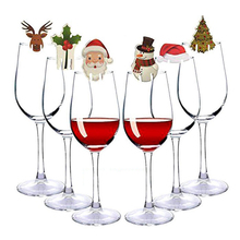 10Pcs/lot Christmas Home Table Place Decorations Cards Santa Hat Wine Glass Decoration New Year Party Supplies