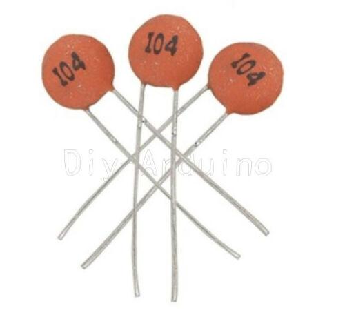 100pcs 50V 100NF 104PF 0.1uF Ceramic Capacitor DIP-2