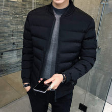 2019 New Solid Men Standing Collar Slim Fit Cotton Jacket Streetwear Korean Style Casual Male Fashion Winter Coat Plus Size 4XL(China)