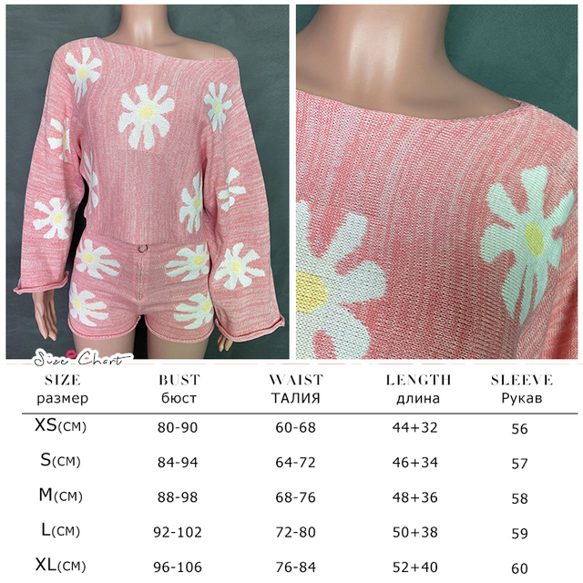 Tossy Knitted Women's 2 Piece Sets Outfits Casual Pink Floral Sweet Oversized Sweater Suit With Shorts For Women 2021 Tracksuit 6