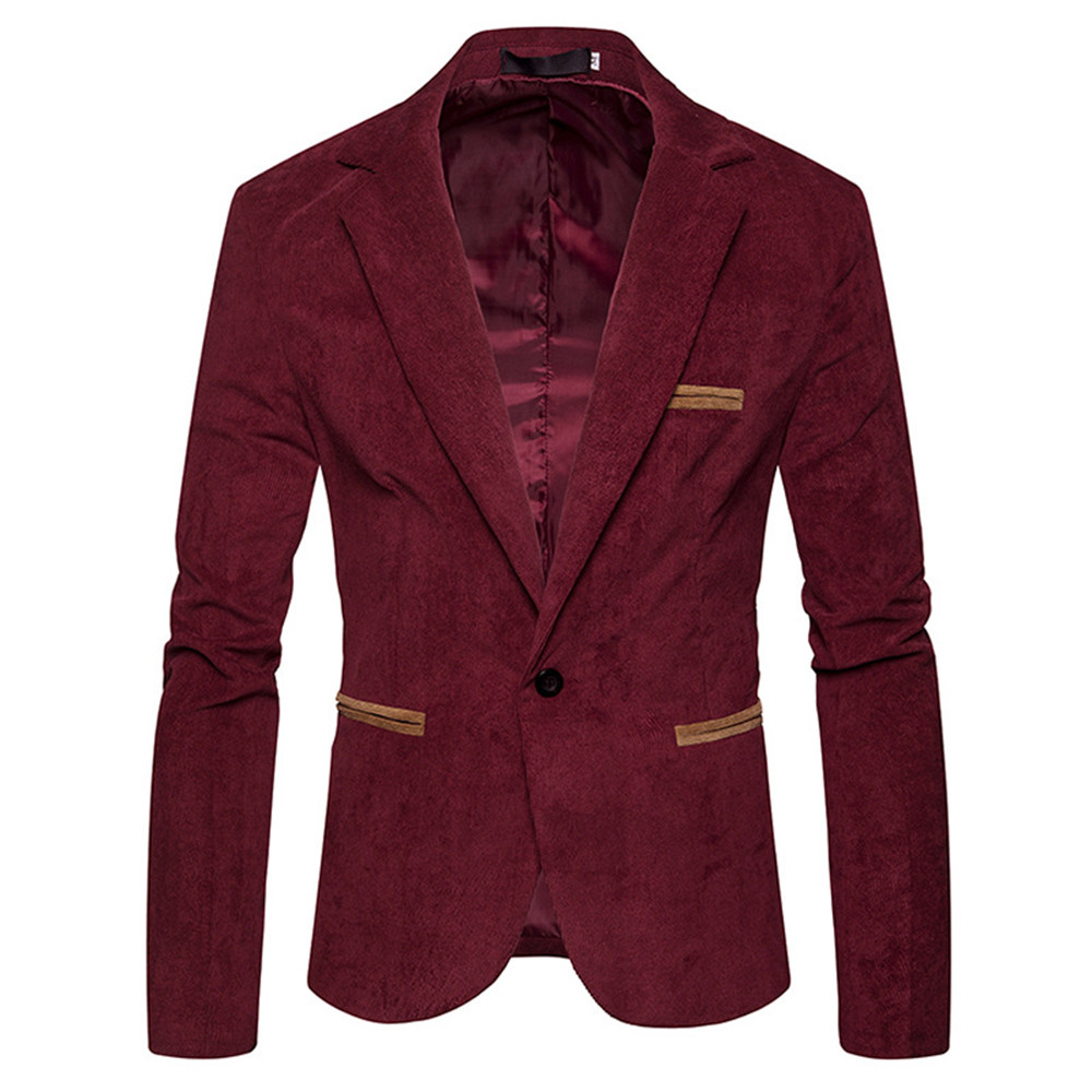 Men's Coats Men Corduroy Jacket Blazer Tops Man Solid Slim Long Sleeve Coat Male Single Button Blazer Jackets Atumn Winter