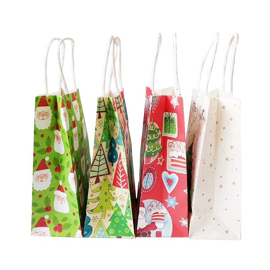 Image 4 - 10Pcs/lot Multifuntion Christmas Paper Bag 21*13*8cm Festival gift bags with Handles Christmas Party Supplies For Event Party-in Gift Bags & Wrapping Supplies from Home & Garden