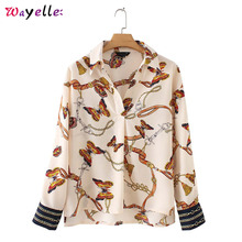 Women Long Sleeve Pleated Shirts Chic Chains Butterfly Print Full Blouses Elegant Casual Blusas Mujer De Moda 2019