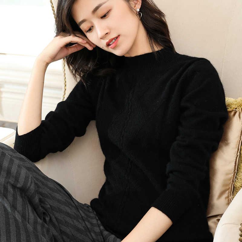 Hot Dijual 100% Kasmir Rajutan Sweater Wanita Oneck Lembut Pullover dan Jumper 4 Warna Wanita Pakaian Atasan
