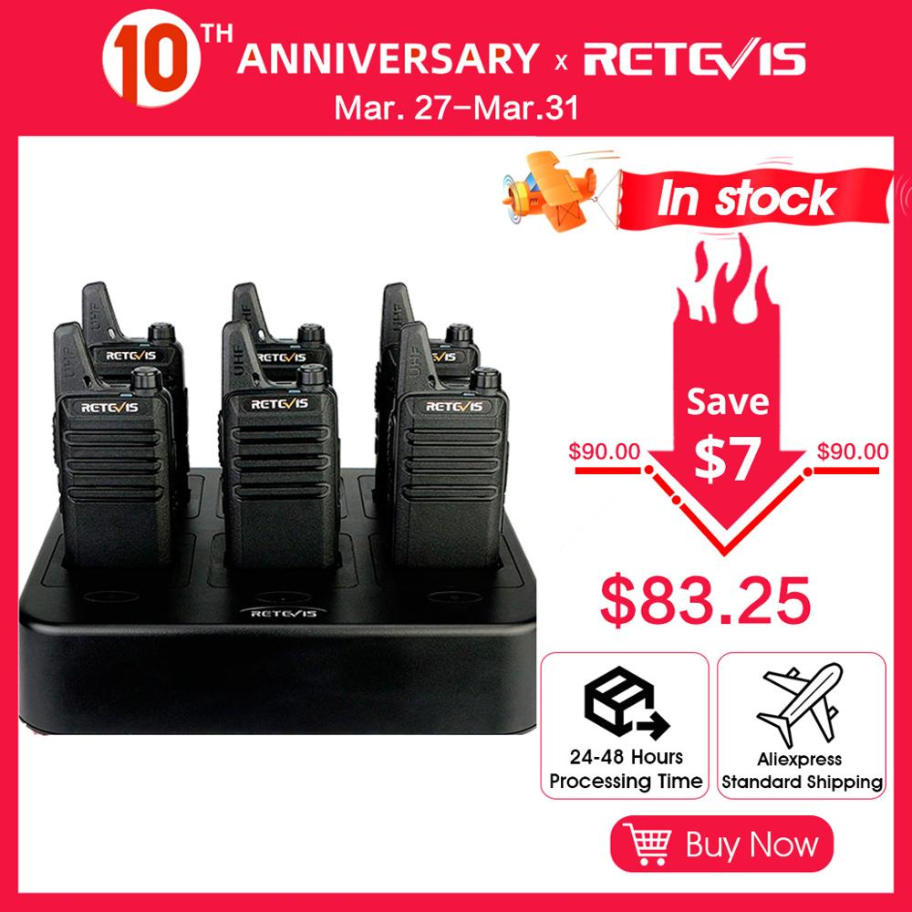 6pcs Retevis RT22 RT622 Two-way Radio Walkie Talkie + Six-Way Charger PMR FRS License-free Walkie Talkies For Hotel/Restaurant
