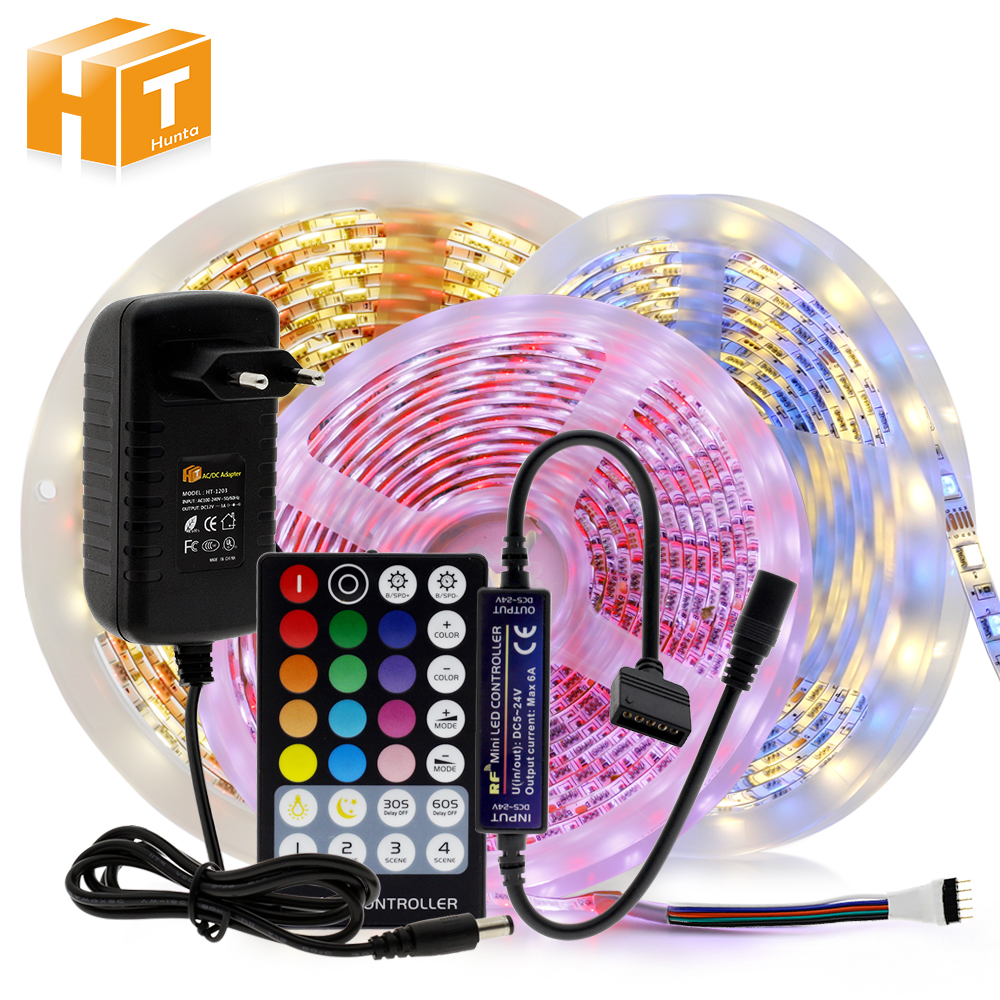 LED Strip RGB / RGBW / RGB+CCT / Double White LED Flexible Light 5050 5m 300 LEDs + RF Remote Controller + DC12V Power Adapter