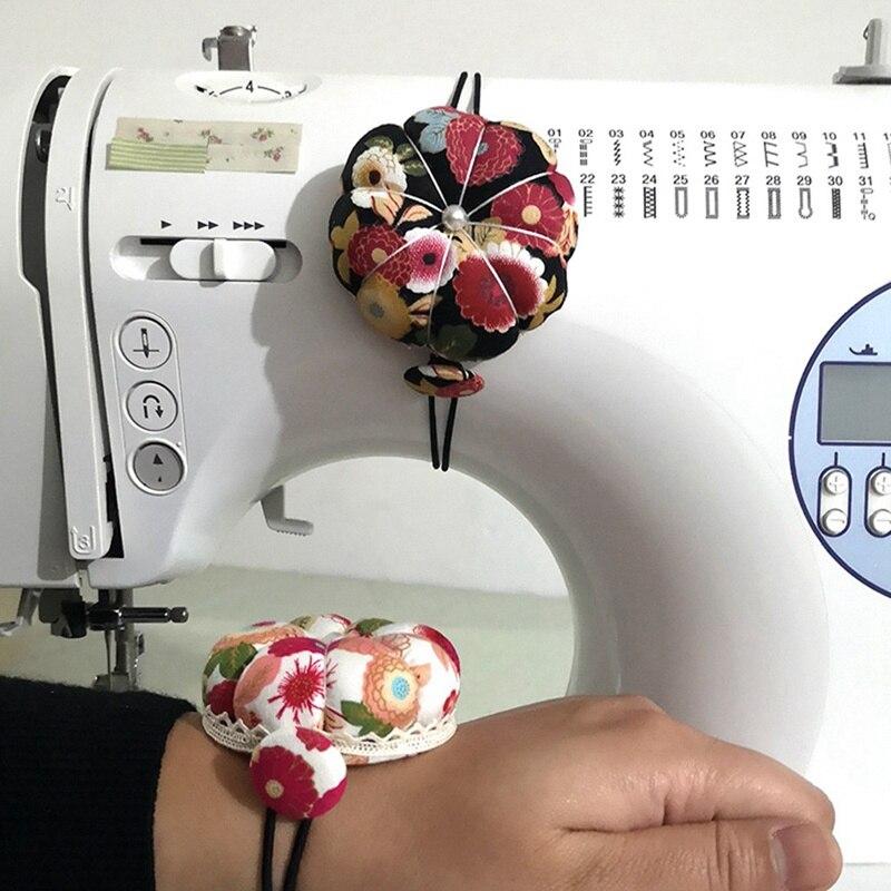 Pumpkin Ball Shaped Needle Pin Cushion Pincushion Wrist Strap Stitch Needlework Mat DIY Craft Supplies Sewing Pins Accessories