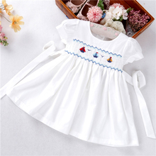 summer baby girls dresses white smocked hand made plain solid cotton Sailboat kids
