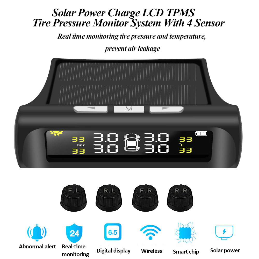 Solar Power Charging TPMS Tire Pressure Monitor System Digital LCD Display Auto Security Alarm Tyre Pressure Temperature Warning