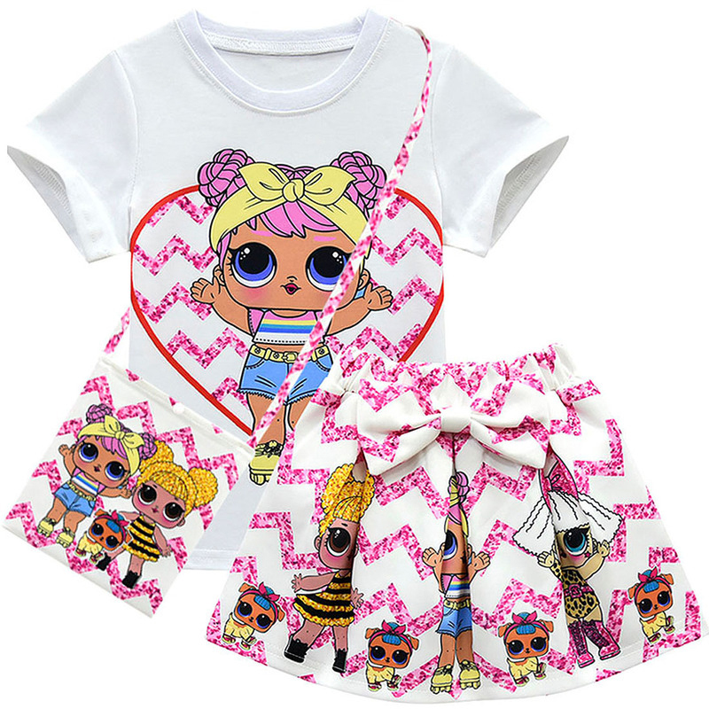 2020 Little Kids Girl Clothing Sets Summer Unicorn Baby Girls Clothes Short Sleeve T-Shirt+Pant Dress Children Lol Clothes Suits