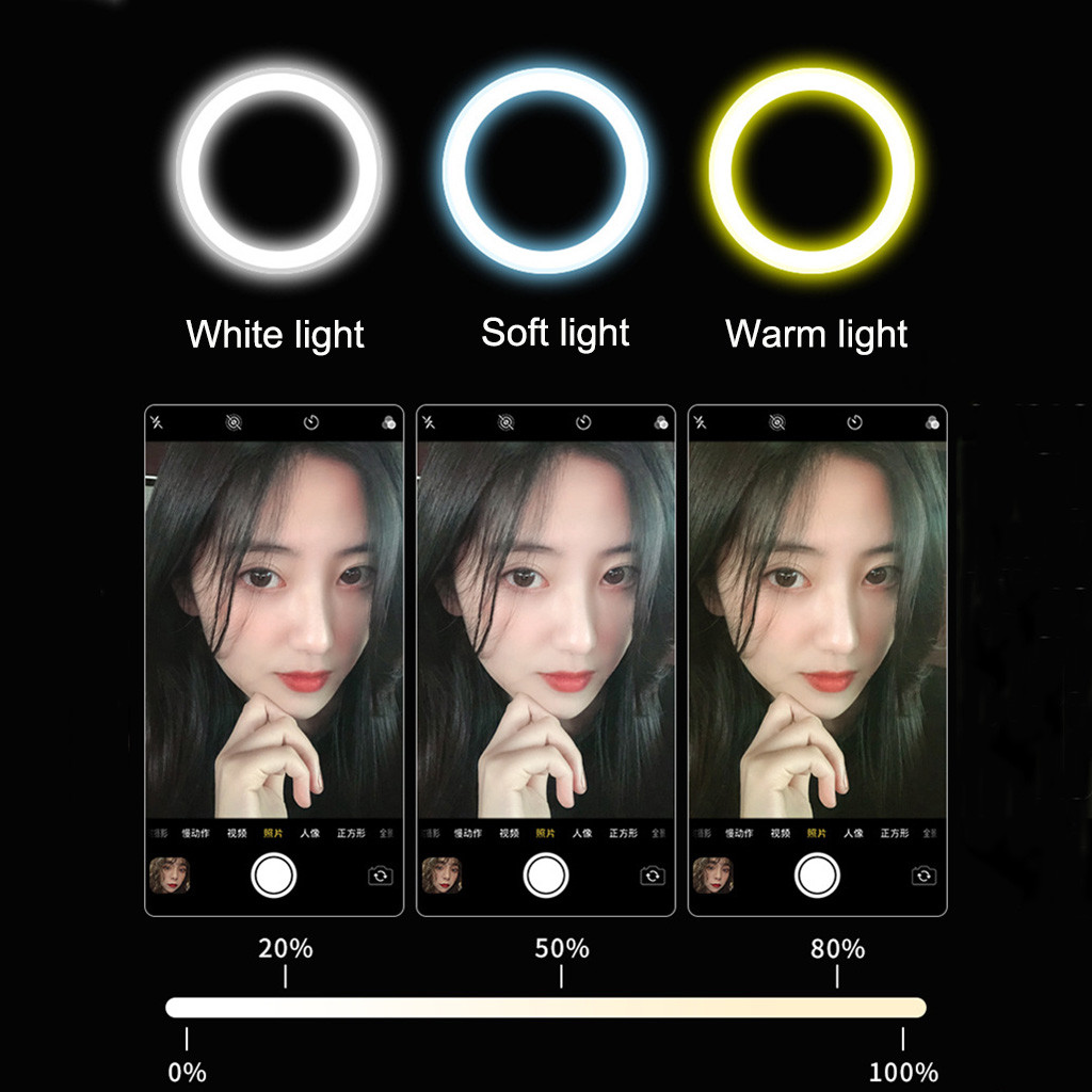 cheapest 2019 LED Selfie Light 3 Modes Dimming Photography Live Stream Enhancing Lamp Flash Fill Light For IOS Android Phone
