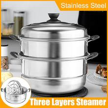 Steamer Pot Cooking-Pots Induction-Cooker Stainless-Steel Soup Thick for Three-Layer