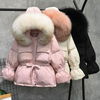 Large Natural Raccoon Fur Hooded Winter Jacket Women 90% White Duck Down Coats Thick Warm Parkas Sash Tie Up Short Snow Coat