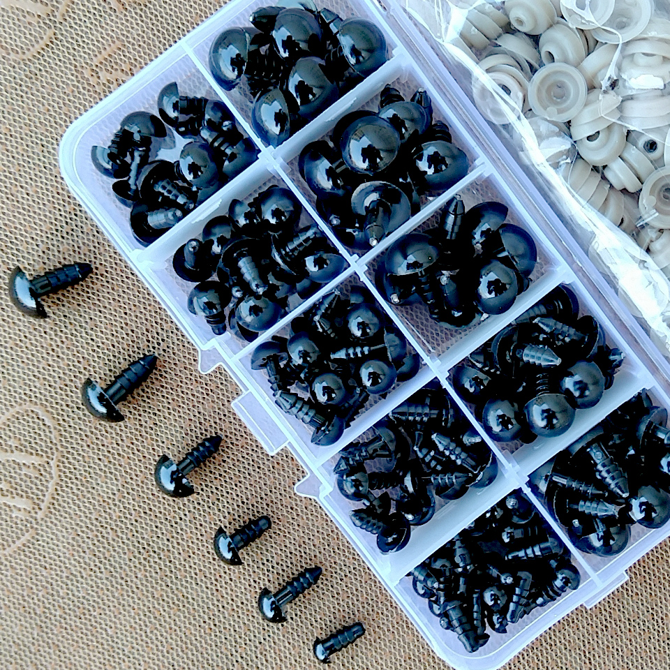 100pcs 6-12mm Black Plastic Safety Eyes For Toys Doll Crafts Teddy Bear Dolls Soft Toy Making Animal Amigurumi Accessories-1