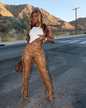 Pantalones informales de piel sintética para mujer, pantalón de chándal, con cordón, cintura alta, moda de calle, Color sólido, ropa de fiesta nocturna de invierno