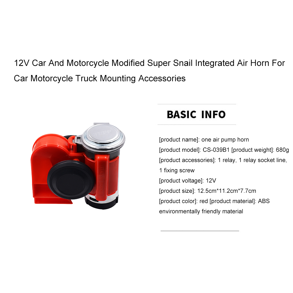Image 2 - 12V Car And Motorcycle Modified Super Snail Integrated Air Horn For Car Motorcycle Truck Mounting Accessories