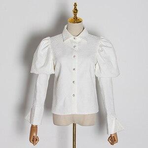Image 5 - TWOTWINSTYLE Stickerei Hit Farbe frauen Blusen Revers Kragen Puff Langarm Dünne Hemden Für Weibliche 2020 Mode Kleidung Flut
