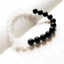 8mm Natural Onyx Stone Black White Yin Yang Bracelet Besties Bracelet Confidant Beaded Bangles Bracelet Men Women(China)