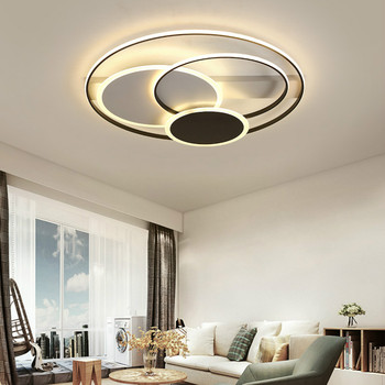 Modern Led Round Living Room Black and White Ceiling Lamp Creative Iron Lamp for Living Room Home Decor Ceiling Lighting Kitchen