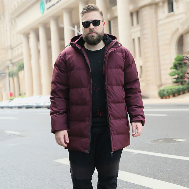 New Winter Men's Warm jacket Fashion Casual jacket long Thick Large size 8XL 9XL 10XL Men's Wine red Hooded Winter jacket