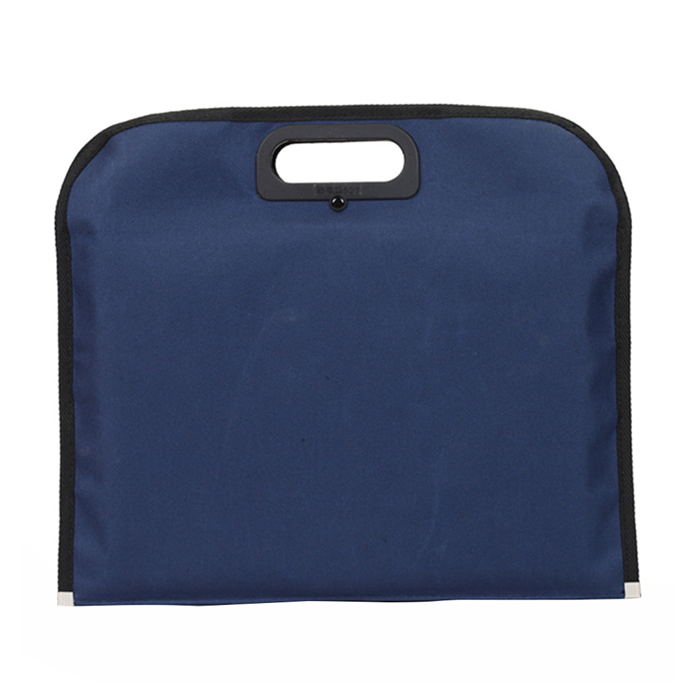 Business With Handle Document Holder Zipper Closure File Bag Blue Oxford Cloth Solid Scratch Proof Travel Conference Handbag