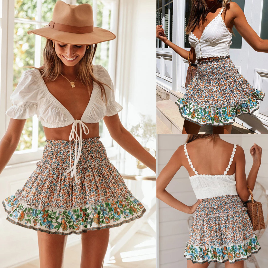 Hot Women Floral Elastic High Waist Short Skirts Ruffled Beach Casual Boho Skirt