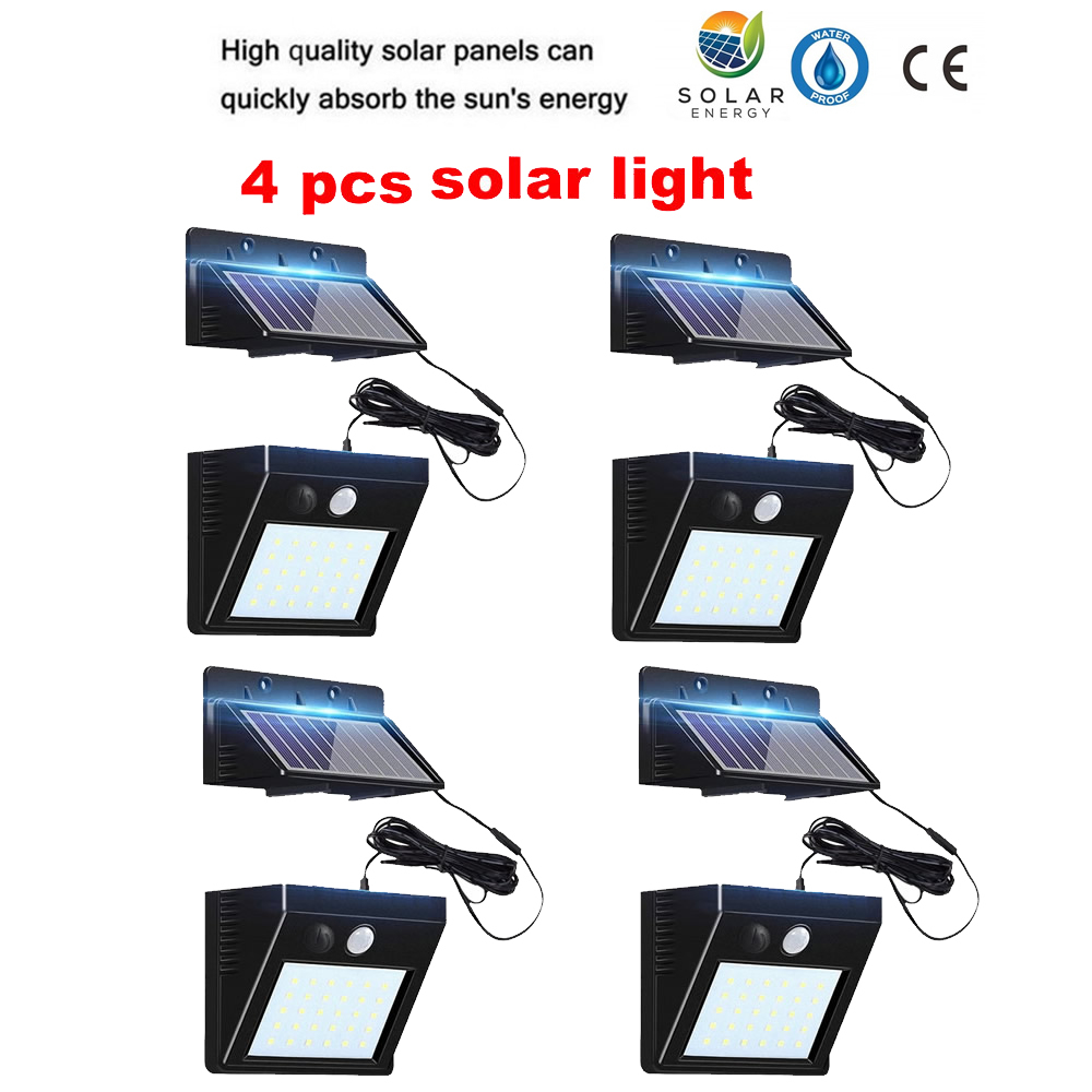 2/4pcs 100/56/30 LED Solar Lights Outdoor PIR Motion Infrared Sensor Energy Saving Separable Waterproof Garden Lamp Yard Wall Pa