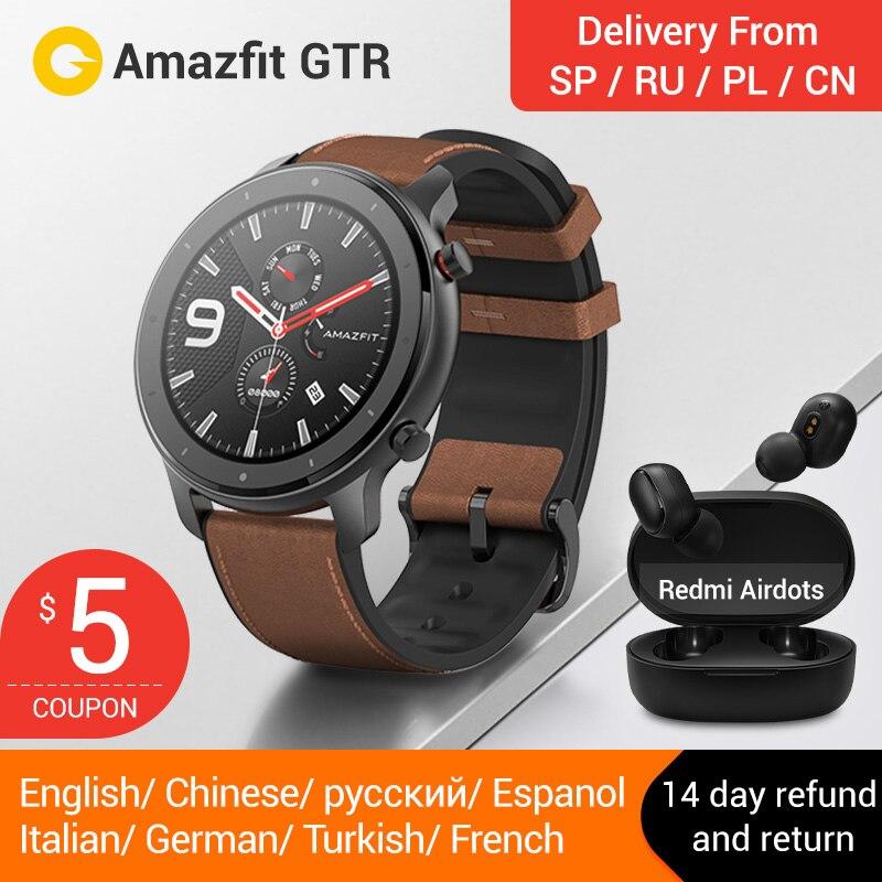 Version globale 2019 Amazfit RTM 47mm 42mmSmart Montre Redmi AirdotsGPS 5ATM Étanche 24 Jours Batterie Bluetooth Musique