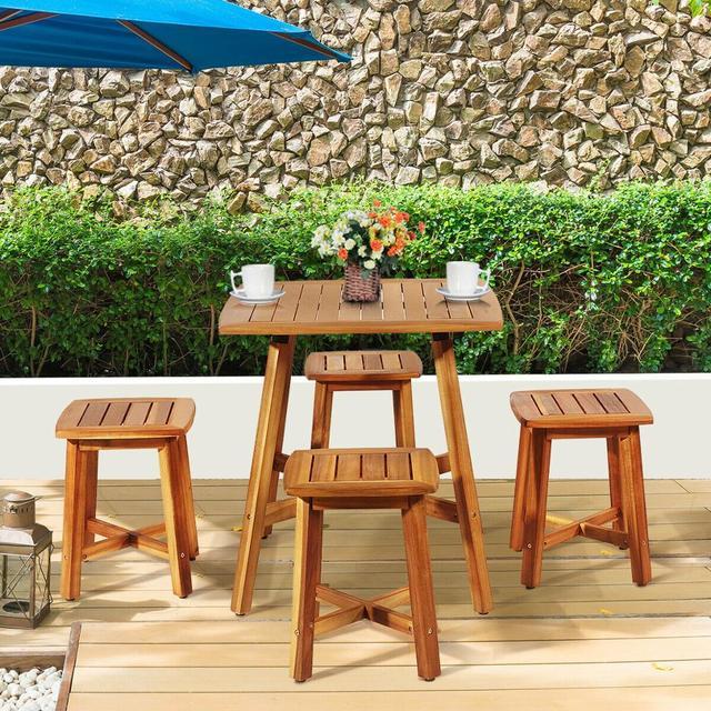 5PCS Acacia Patio Table & 4 Stools  4