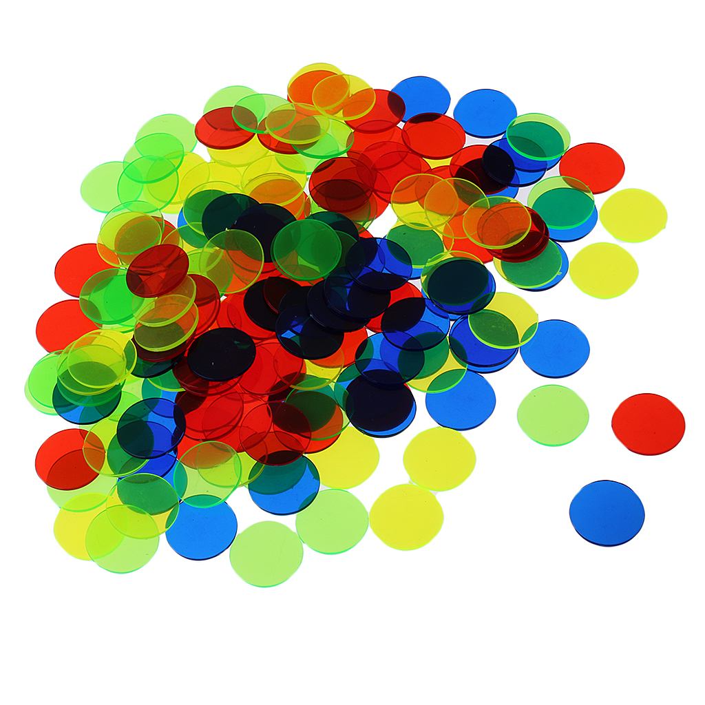 Pack Of 100 Bingo Chips (Multi Color) – 1.5cm Translucent Markers For Bingo, Counting & Game Tokens, Chips For Bingo Games