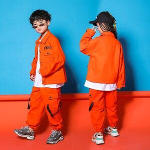 Image 2 - Caz Kostümleri Turuncu Takım Uzun Kollu Ceket Pantolon Erkek Sokak Dans Elbise Hip Hop Dans Seti Sahne Giyim Çocuklar