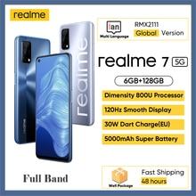 글로벌 버전 realme 7 5G 6GB 128GB 120Hz 6.5 인치 디스플레이 48MP 카메라 5000mAh 30W 다트 충전기 치수 800U 옥타 코어 폰