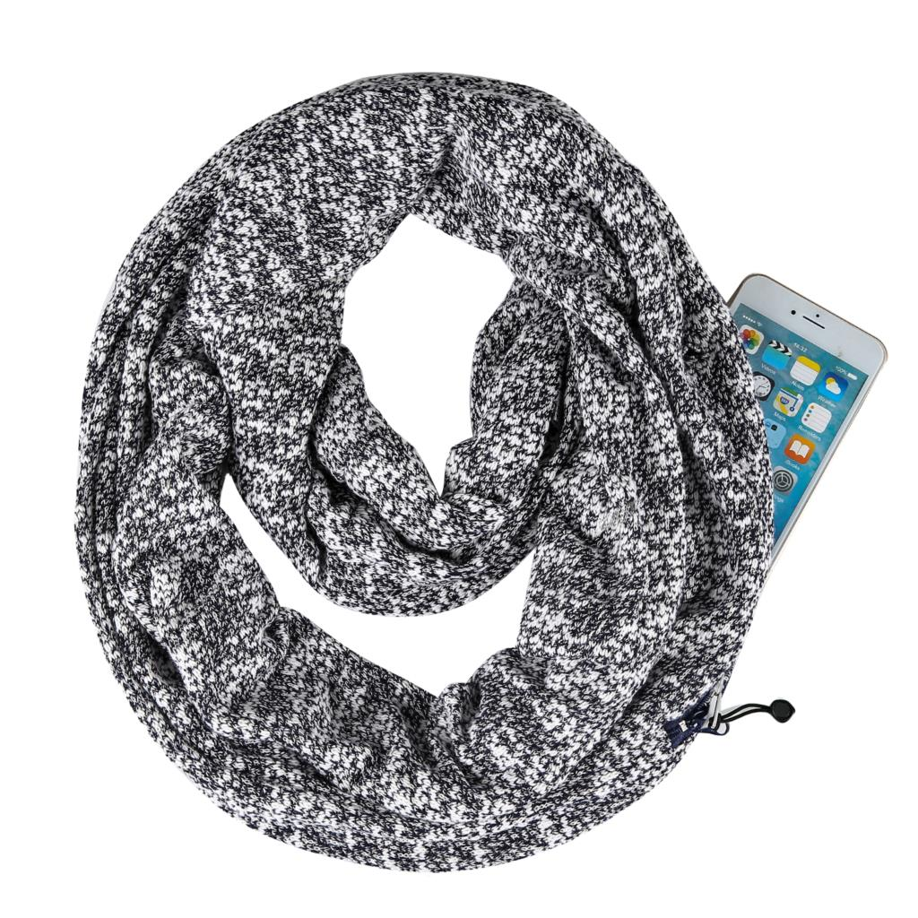 Scarf   With Pocket Convertible Journey Women   Wrap   Secret Hidden Zipper Pocket infinity Travels Scarfs Ladies Circle Shawl   Scarves