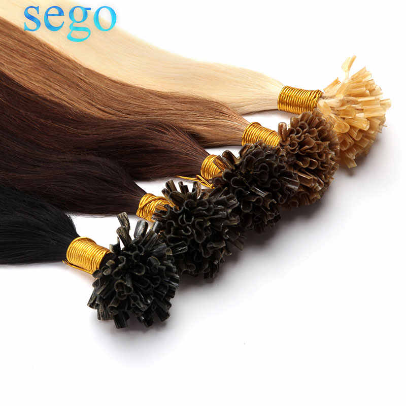 "SEGO 16""-24"" 0.5g/s Straight Pure and Piano Keratin Human Non-Remy Fusion Hair Nail U Tip Pre-Bonding Hair On Capsuel 100pc 50g"