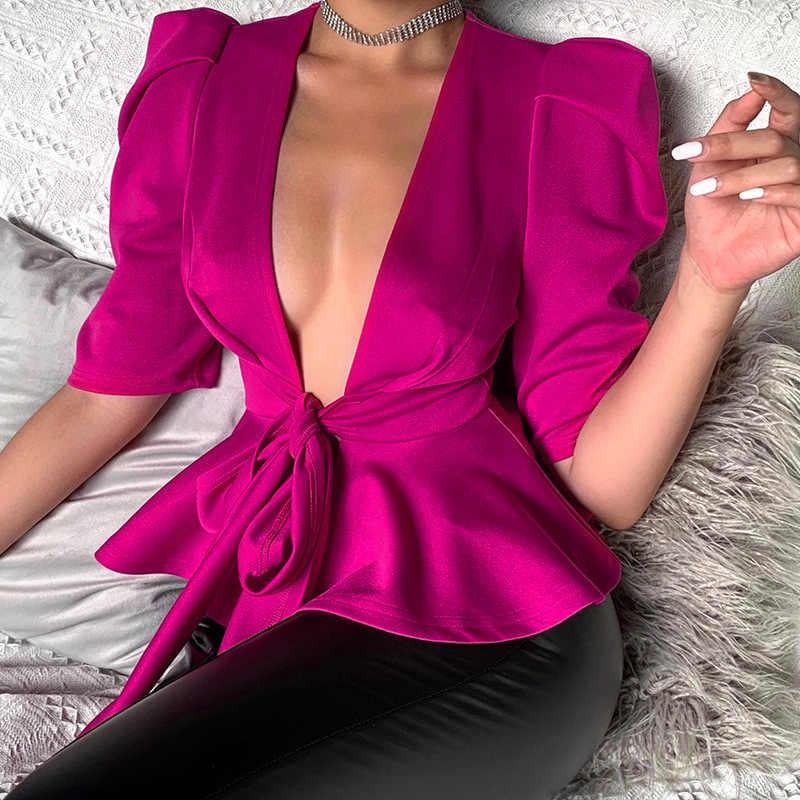 Kadın bluz seksi derin V boyun Sashes Peplum yarım kollu gül kırmızı yarım kollu Clubwear parti moda kadın üstleri gömlek yeni