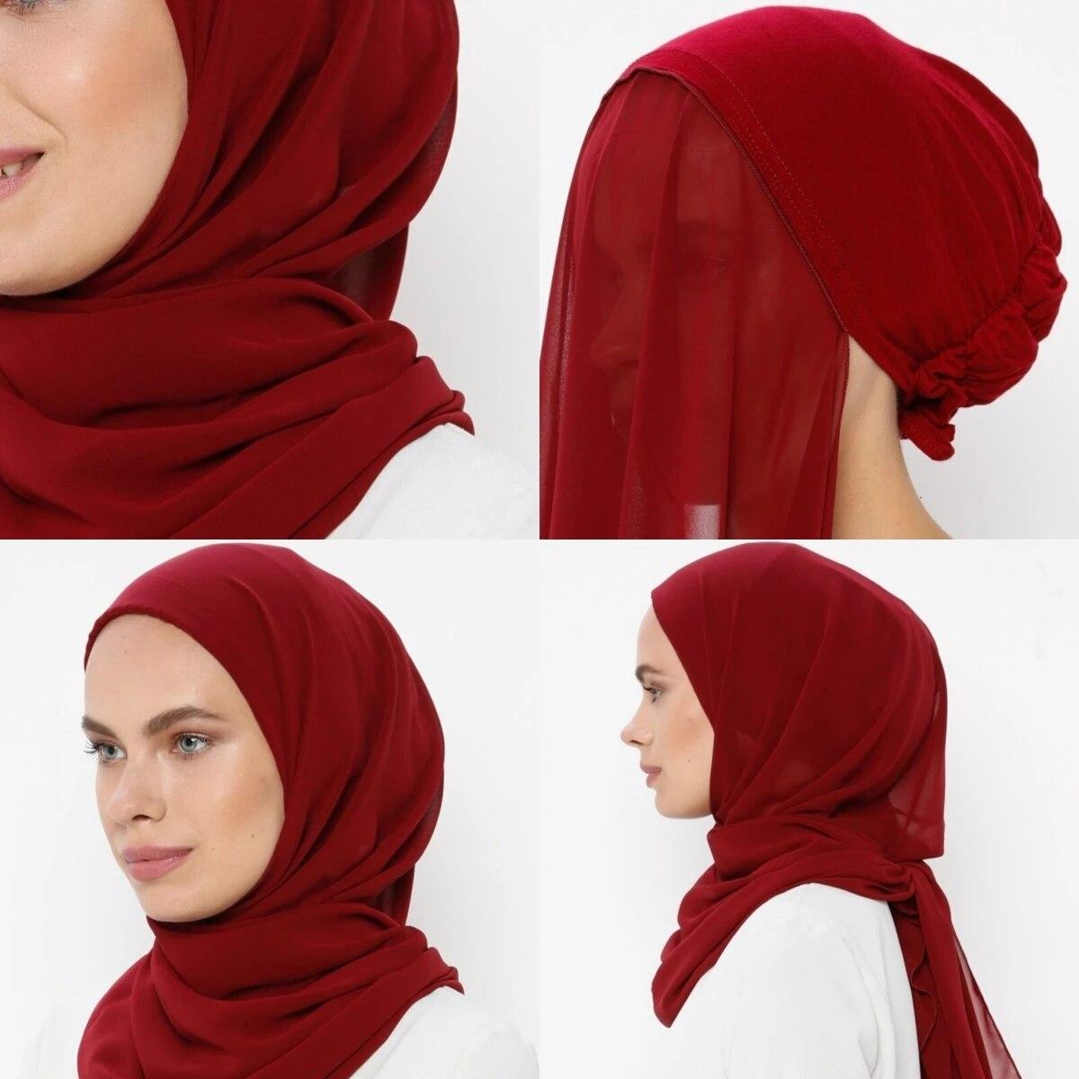 Muslim Women Bonnet + Chiffon Shawl Head Scarf Underscarf Cap Islam Inner Scarf Headband Stretch Hijab Cover Headwrap Turbante